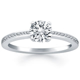 14K White Gold Classic Pave 0.5 ct Diamond Engagement Ring
