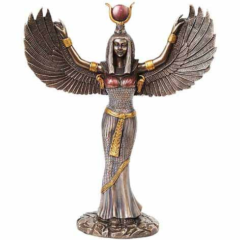 Isis Egyptian Goddess Silver Cold-Cast Resin Statue 11⅞