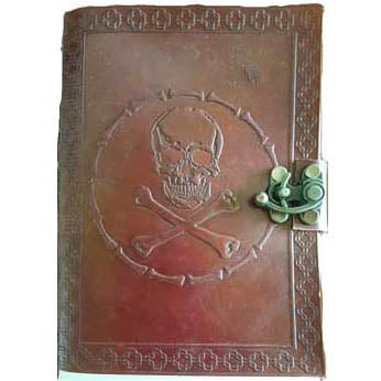 Skull & Bones Embossed Leather Unlined Journal with Latch (7