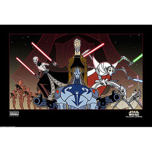 "Star Wars: The Clone Wars ""Shadow of the Sith"" Cartoon Unframed Paper Giclee Fine Art Print [13"" x 19""] - Acme Archives Limited Edition 500 Pieces :: Mental XS Online"