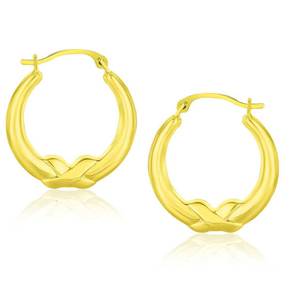 10K Gold X Motif Round Shape Hoop Earrings