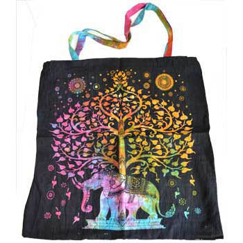 Tree of Life with Elephant Cotton Tote Bag 18