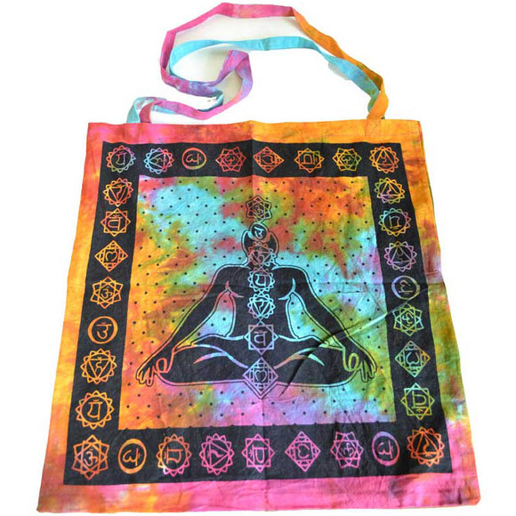 7-Chakra Tie-dyed Cotton Tote Bag 18