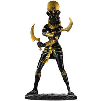 Sekhmet Egyptian God Black & Gold Cold-Cast Resin Statue 11