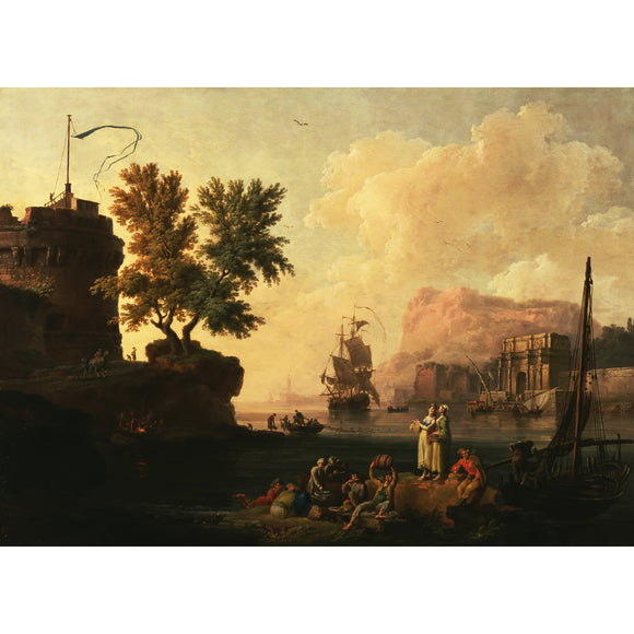 Mediterranean Harbor Scene by Pierre-Jacques Volaire Canvas Giclee Fine Art Print [10