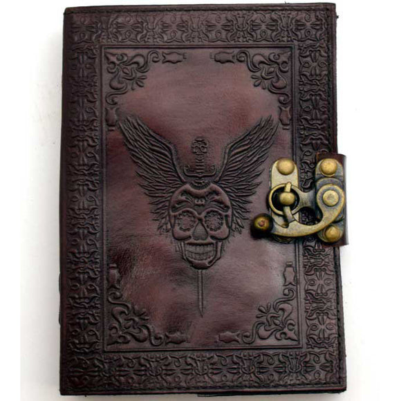 Skull with Wings Embossed Leather Unlined Journal with Latch (7