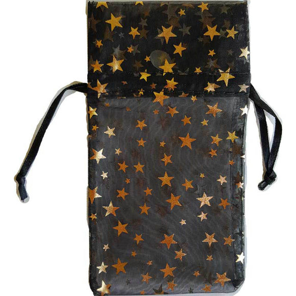 Black organza pouch with Gold Stars 3
