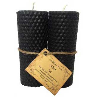Lailokens Awen™ Alter Set of 2 Black Pillar Candles 4¼