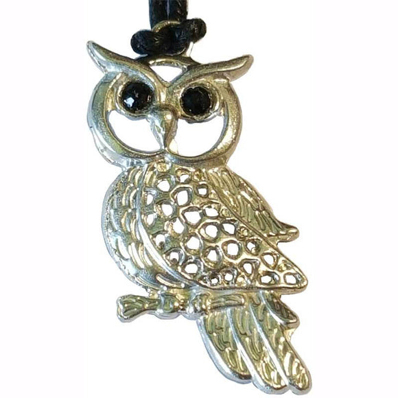 Owl Wisdom & Healing Powers Amulet Pewter Pendant (has cord) :: Mental XS Online