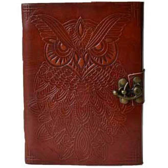 Owl Embossed Leather Unlined Journal with Latch (7