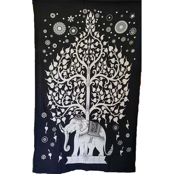 Black & White Tree of Life with Elephant Tapestry 54
