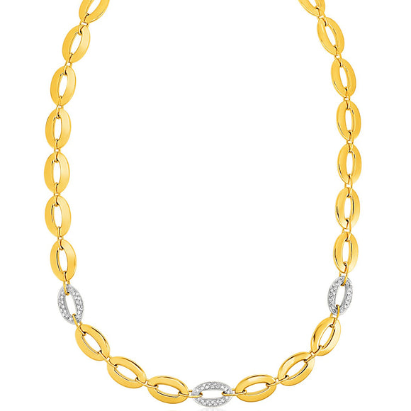 14K Gold and 1/3 ct Diamond Oval Link Necklace