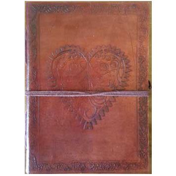 Heart Embossed Leather Unlined Journal with Cord :: Mental XS Online