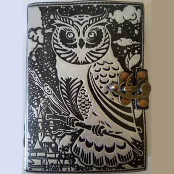 Black & Silver Owl Embossed Leather Unlined Journal with Latch (7