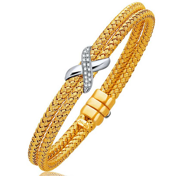 Basket Weave Bangle with Diamond Cross Accent in 14K Tone Gold (7.0mm) - Fine Jewelry from Hamunaptra NY :: Exclusively at Mental XS Online