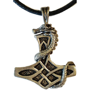 Mjolnir with Dragon Amulet Pewter Pendant (has cord) :: Mental XS Online