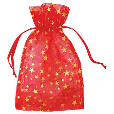 Red organza pouch with Gold Stars 4