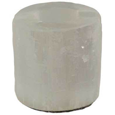 White Selenite Crystal Round Tealight Candle Holder
