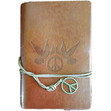 "Brown Dove and Peace Sign Embossed Wrap-around Journal with Cord & Peace Charm (6½"" x 4⅜"") :: Mental XS Online"