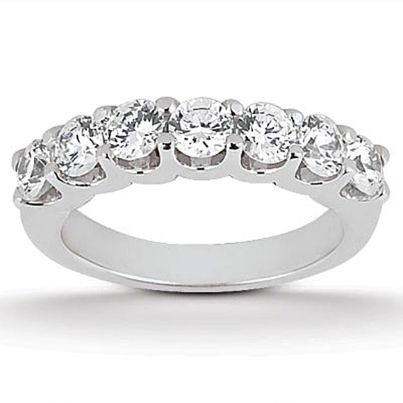 14K White Gold 1.05 ct Diamond Scalloped Shared U Prong Wedding Ring