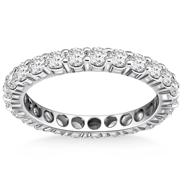 14K White Gold Ageless Round Cut 1.15 ct Diamond Eternity Ring