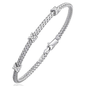 Basket Weave Bangle with Cross Diamond Accents in 14K White Gold (4.0mm) - Fine Jewelry from Hamunaptra NY :: Exclusively at Mental XS Online