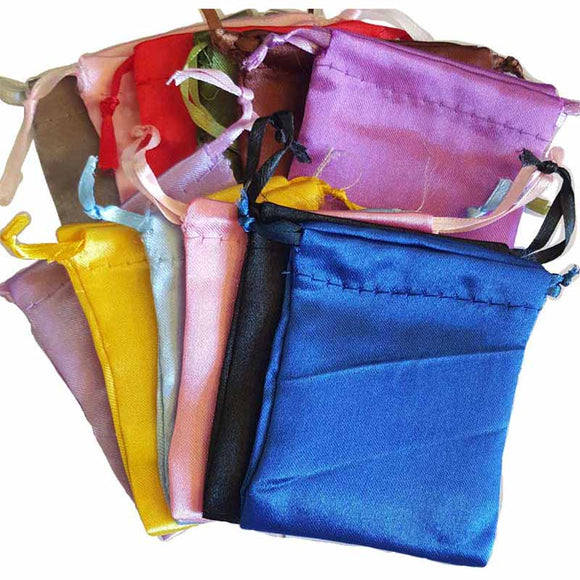 Satin Drawstring pouches (various colors) 2¾