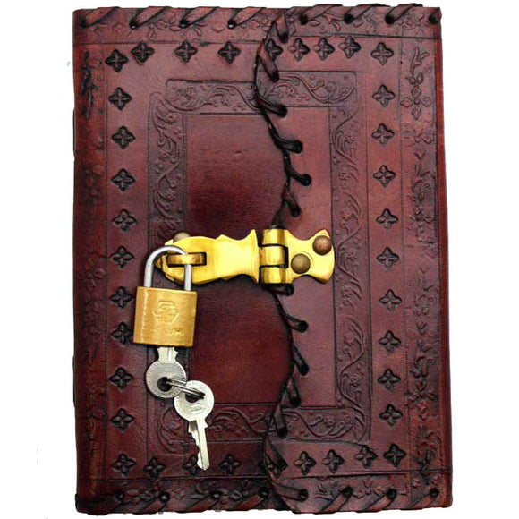 Floral Embossed Leather Unlined Journal with Lock & Key (7