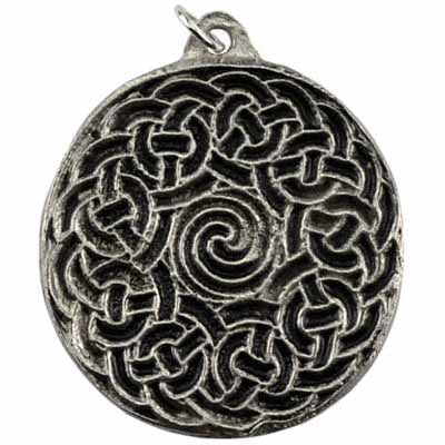 Transformation Celtic Knot Spiral Amulet Pewter Pendant (has cord) :: Mental XS Online