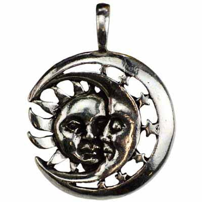 Celestial Repose Sun & Moon Amulet Pewter Pendant (has cord) :: Mental XS Online