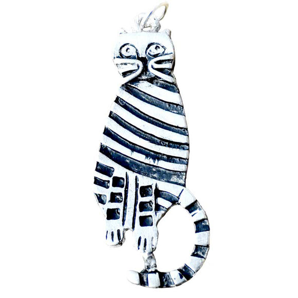 Black & White Spiral Cat Amulet Pewter Pendant (has cord)