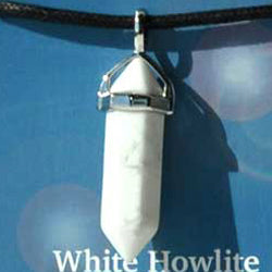 Calming White Howlite double terminated Pendant (has cord)