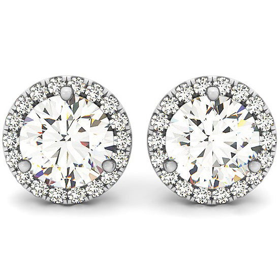 14K White Gold Round Prong Halo Style Earrings (1 ct. tw.)