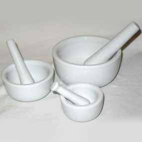 White Ceramic Pestles & Mortars - set of 3