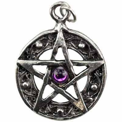 Protected Life Celtic Knot Pentacle with Gemstone Amulet Pewter Pendant (various colored gem, has cord) :: Mental XS Online
