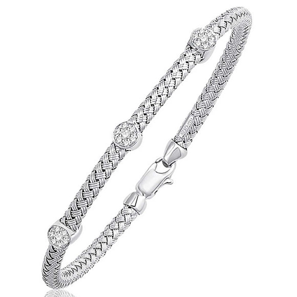 Basket Weave Bangle with Diamond Accents in 14K White Gold (4.0mm) - Fine Jewelry from Hamunaptra NY :: Exclusively at Mental XS Online