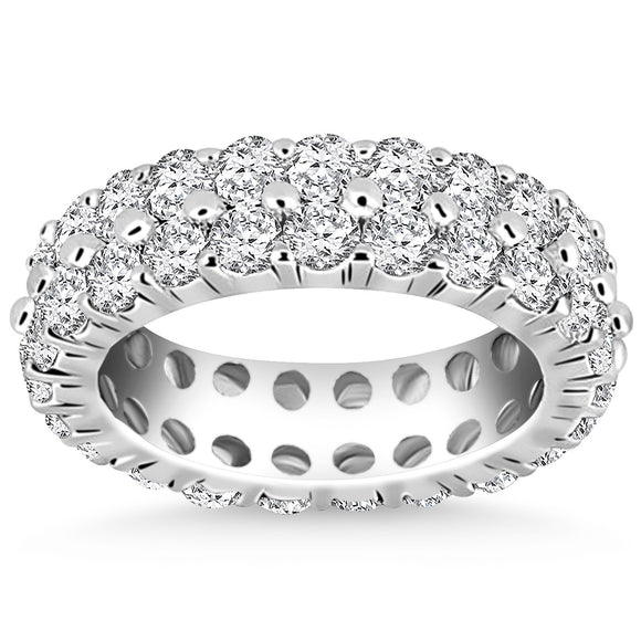 14K White Gold Double Band Round 2.4 ct Diamond Eternity Ring