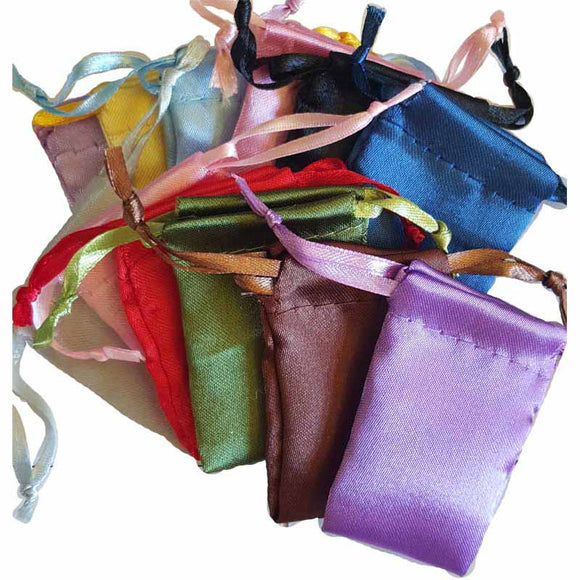 Satin Drawstring pouches (various colors) 1¾