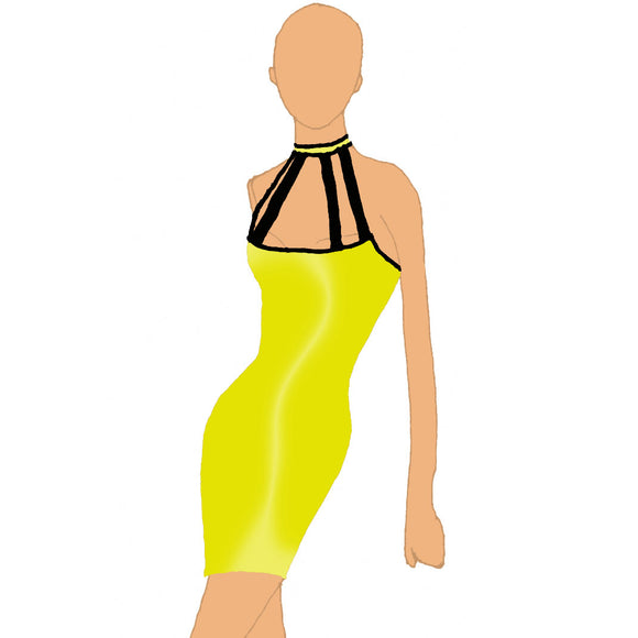 Wheelneck Neon Bodycon With Contrast Trim (US 4-14) from Afterdark by Katerina :: Mental XS Online