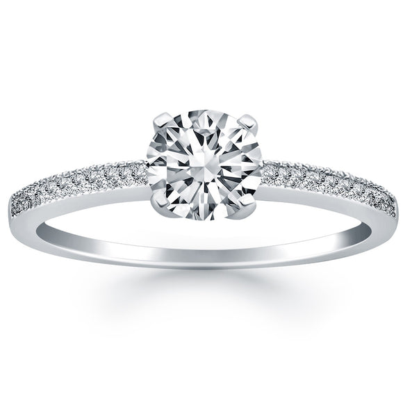 14K White Gold Classic 0.5 ct Diamond Pave Solitaire Engagement Ring