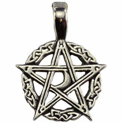 Mystic's Waxing Moon Celtic Pentacle Amulet Pewter Pendant (has cord) :: Mental XS Online