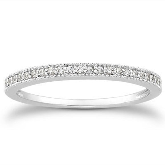 14K White Gold Micro Pave 0.11 ct Diamond Milgrain Wedding Ring