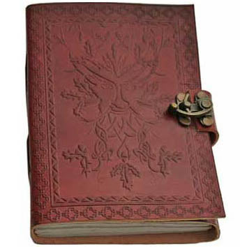 Green Man Embossed Leather Unlined Journal with Latch (7