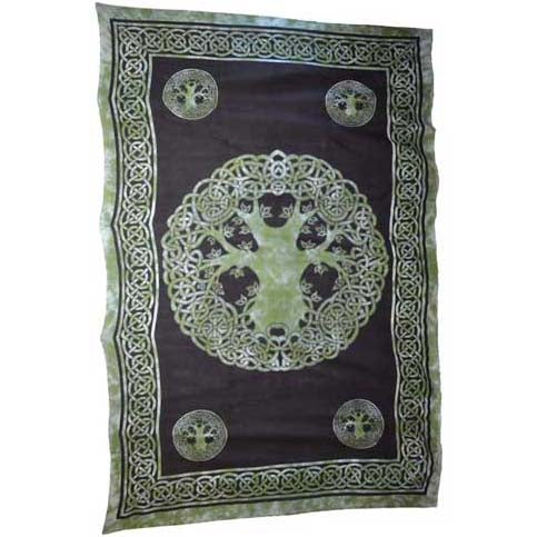 Green & Black Tree of Life Tie-dyed Tapestry 72