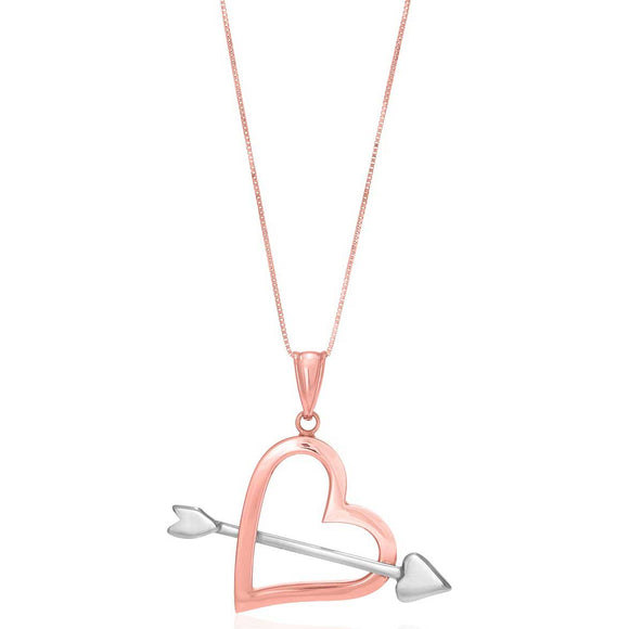 14K Two-Tone Rose & White Gold Arrow and Open Heart Pendant - Fine Jewelry from Hamunaptra NY :: Exclusively at Mental XS Online