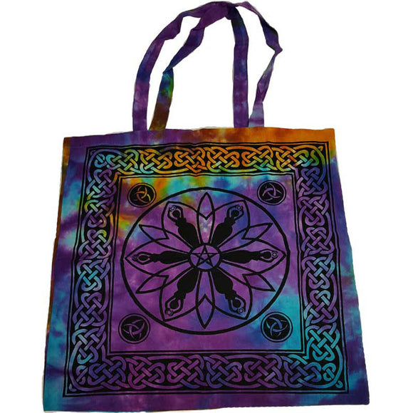 Goddess, Pentacle & Triquetra with Celtic Knotwork Tie-dyed Cotton Tote Bag 18