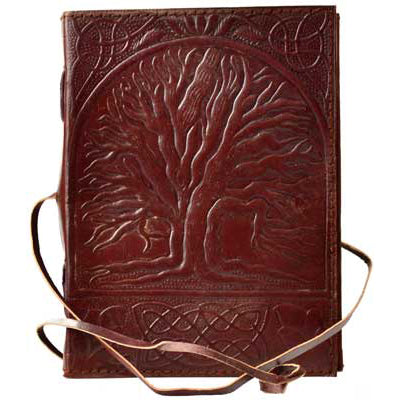 Celtic Knot Tree of Life Embossed Leather Unlined Journal with Cord (7