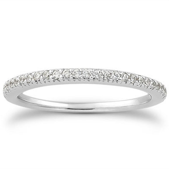 14K White Gold Engraved Pave 0.2 ct Diamond Wedding Ring