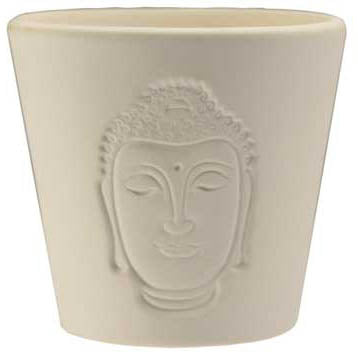 White Buddha Shadow Clay Votive Candle Holder