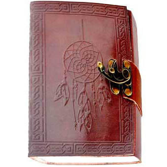 Dreamcatcher with Celtic Knotwork Embossed Wrap-around Leather Unlined Journal with Latch :: Mental XS Online
